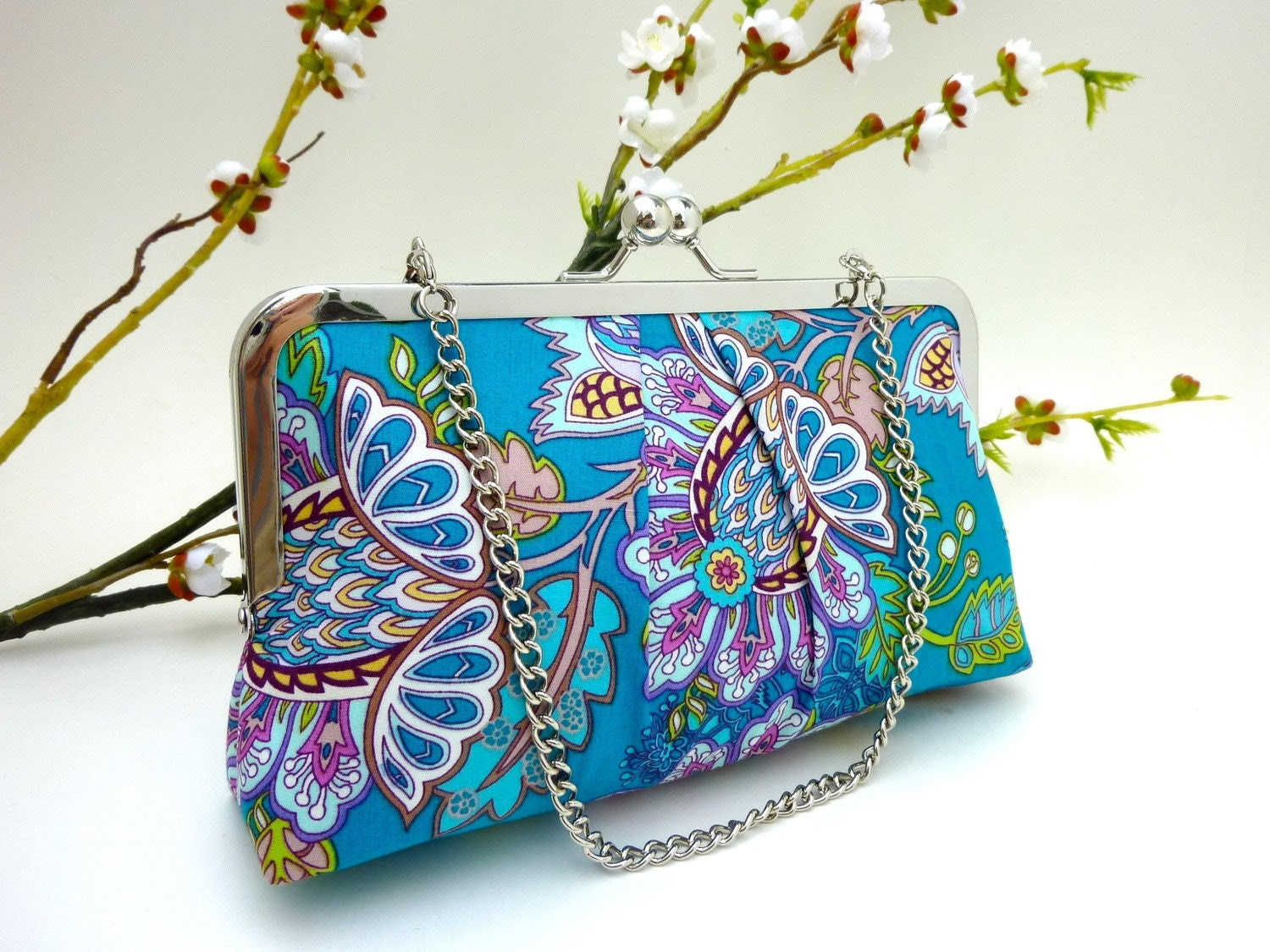NEW- Teal Blooms KissLock Clutch