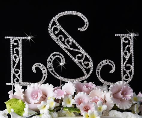 Roman Crystal Monogram Wedding Cake Topper
