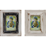 Set of 2 Designs Distressed Wood Photo Frames Black/White - Creative Co-Op
