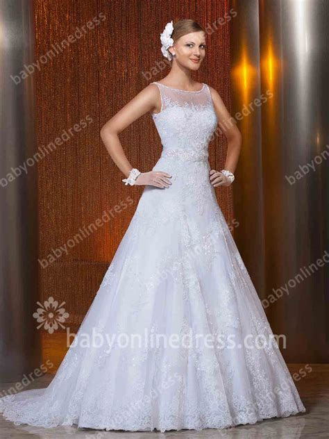 2019 Lace Wedding Dresses Jewel Sleeveless Button Top