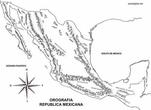 Mapa de la orografia de Mexico