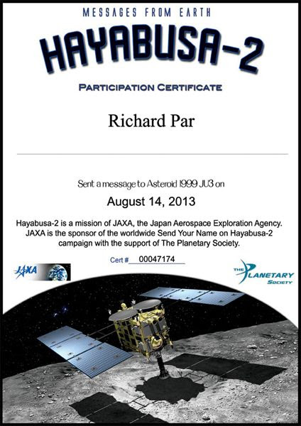 My participation certificate for Japan's Hayabusa 2 mission.
