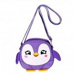 (Purple Penguin) - Hipiwe Kids Crossbody Purse Shoulder Bag Mini Cute Little Girls Purses Bags Cartoon Animal Preschool Messenger Handbag for Children