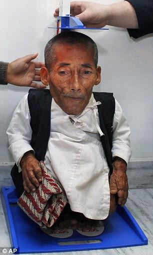Chandra Bahadur Dangi, 72, who says he's only 22 inches