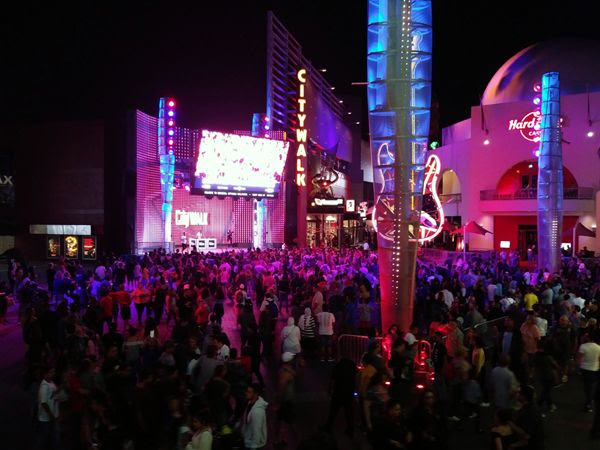 A large crowd gathers for a small concert (I think) outside Universal Cinema at CityWalk in North Hollywood...on September 1, 2018.