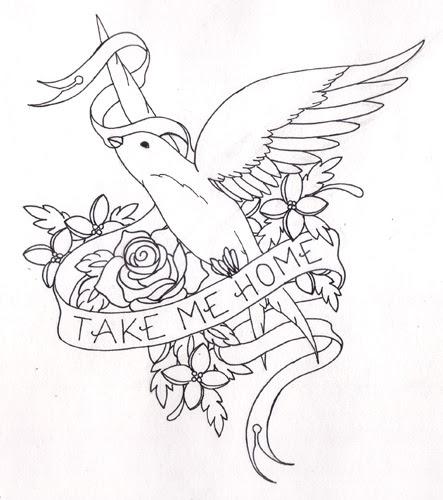 Blacklight Tattoo: Filigree Blacklight Tattoo other birds on the back,