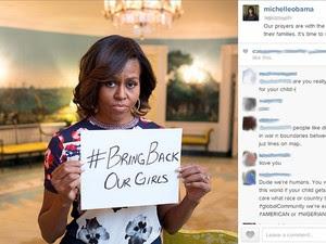 Michelle Obama em sua página no Instagram manda mensagem de apoio às meninas sequestradas na Nigéria (Foto: Reprodução/Instagram)