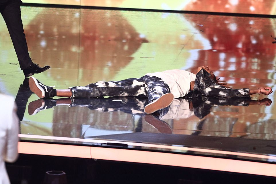 Floored! Tokio couldn't believe he was crowned the winner and dropped to the floor in shock after the news was announced