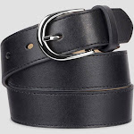 Women's Fashion Skinny Leather Jean Belt with Polished Buckle - A New Day Black