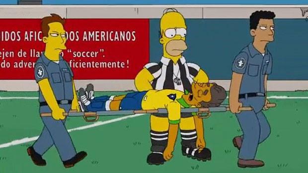 Personagem em homenagem a Neymar cai no campo em episódio de 'Os Simpsons' (Foto: Divulgação/Fox)