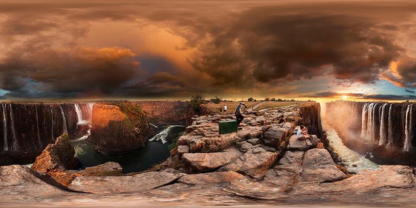 Pinche en la imagen para poder navegar libremente por ésta y otras panorámicas de 360º de las Cataratas Victoria.
