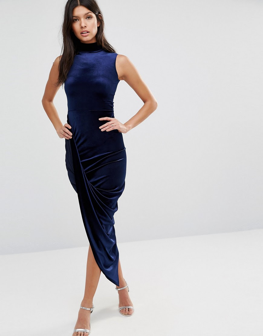 Image 4 of Club L Velvet High Neck Asymmetric Hem Midi Dress