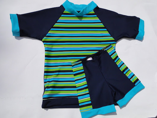 Retro UV50 Rash guard Swimshirt - Retro MIAMI Blue and Green