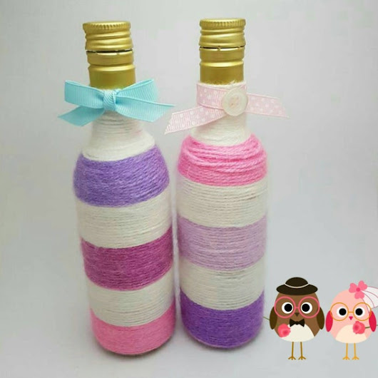 Yarn wrapped bottles. His and Hers. by MadisonKollection on Etsy