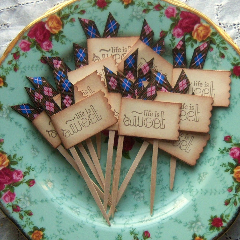 Life is Sweet Cupcake Toppers and  Party Picks - Argyle - Vintage Inspired