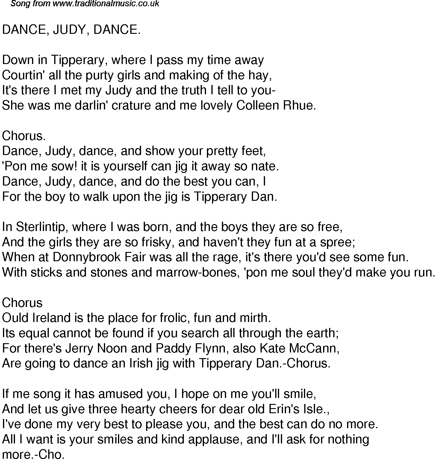 Old Time Song Lyrics For 32 Dance Judy Dance