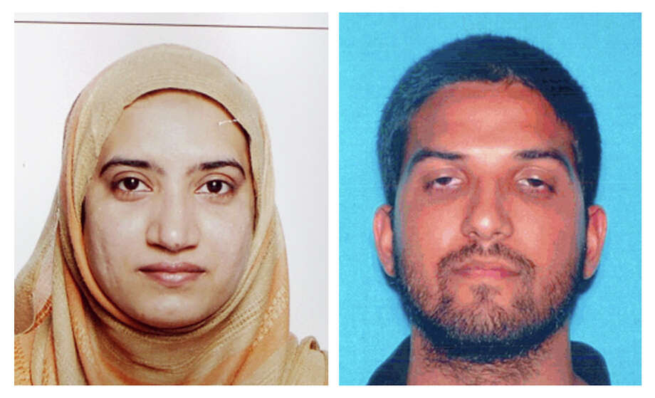This undated combination of photos provided by the FBI, left, and the California Department of Motor Vehicles shows Tashfeen Malik, left, and Syed Farook. The husband and wife died in a fierce gunbattle with authorities several hours after their commando-style assault on a gathering of Farook's colleagues from San Bernardino, Calif., County's health department Wednesday, Dec. 2, 2015. (FBI, left, and California Department of Motor Vehicles via AP) Photo: Associated Press / FBI and California Department of Motor Vehicles