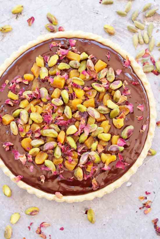 Chocolate Tart with Cardamom, Apricots and Rose Petals - Easy Peasy Foodie