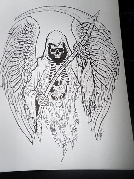 Grim Reaper Original Ink Drawing Shop Sinister Dark Art