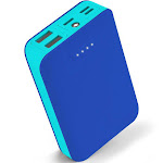 Aduro PowerUp Trio 10,000 mAh SmartCharge Dual USB Backup Battery Blue