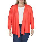 Nic + Zoe Womens Plus 4 Way Linen Open Front Cardigan Sweater Pink 2X