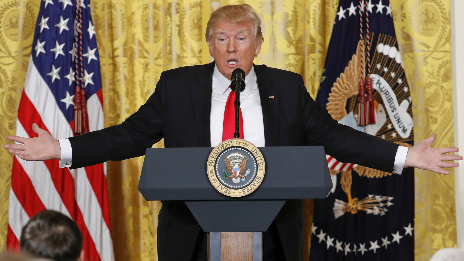 President Donald Trump speaks during a news conference in the East Room of the White House in Washington, Thursday, Feb. 16, 2017. (AP/Pablo Martinez Monsivais)