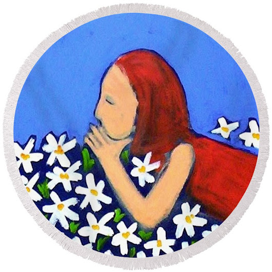 Field Of Flowers Round Beach Towel for Sale by Winsome Gunning