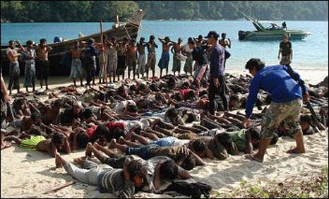 Burmese Rohingyas under guard in Thailand