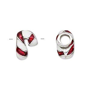 Bead, Dione®, Enamel Silver-plated Pewter (tin-based Alloy), Red White, 15x10mm Double-sided Striped Candy Cane, 5mm Hole. Sold Individually