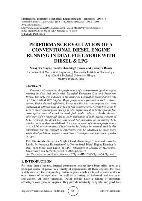 PERFORMANCE EVALUATION OF A CONVENTIONAL DIESEL ENGINE