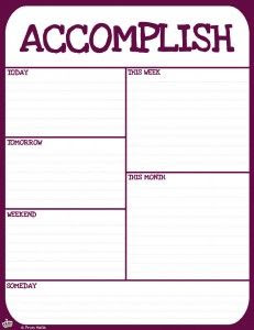 accomplish to do list printable   charts   Pinterest   To work ...