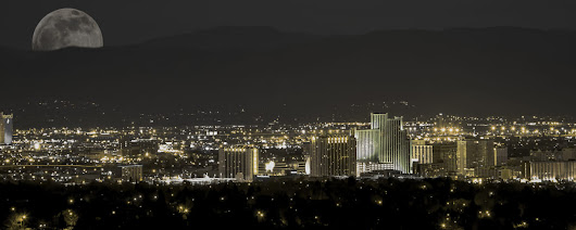 Moon over Reno in Gold