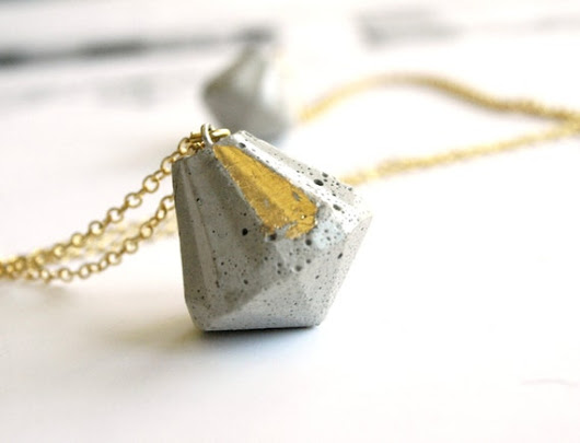 Concrete Diamond necklace Long gold necklace by shooohsJewelry