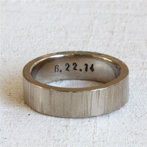 Wide 14k Gold Tree Bark Wedding Ring   His wedding band