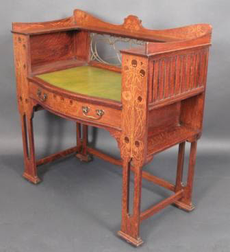 Inlaid Oak Writing Desk by Shapland and Petter