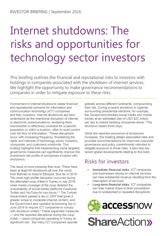 "Colette G. St-Onge on Twitter: ""New @ShareActionUK & @accessnow briefing outlining why investors should do their part to #KeepItOn >>  """
