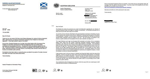 Scottish Government attitudes on Law Society FOI exemption 2006 - 2007