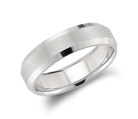 Beveled Edge Matte Wedding Ring in Platinum (6mm)   Groom