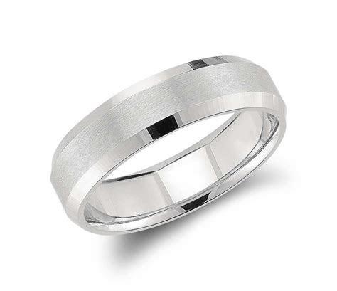 Beveled Edge Matte Wedding Ring in Platinum (6mm)   Groom