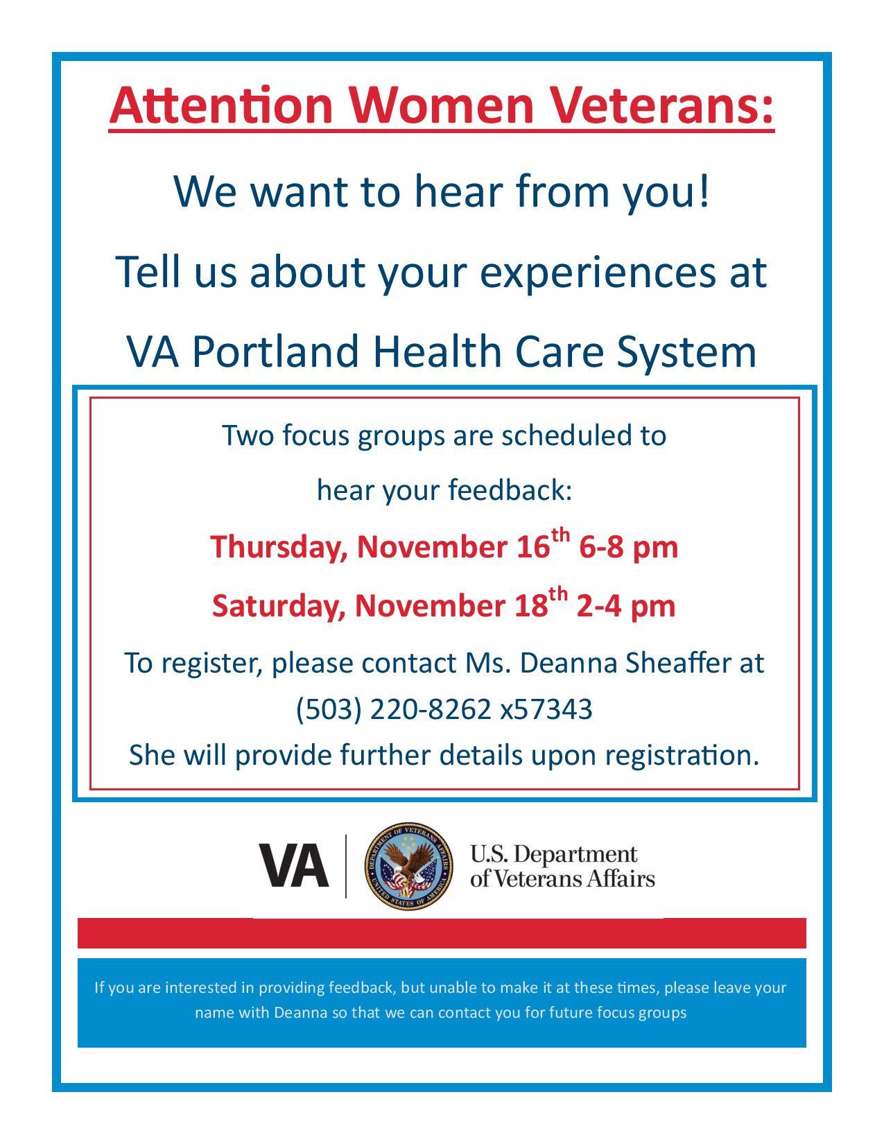 Women Veterans VA Healthcare Focus Groups - Community ...