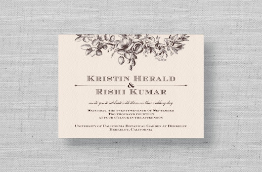 Secret Garden Wedding Invitations from MarryMoment in Vintage Brown