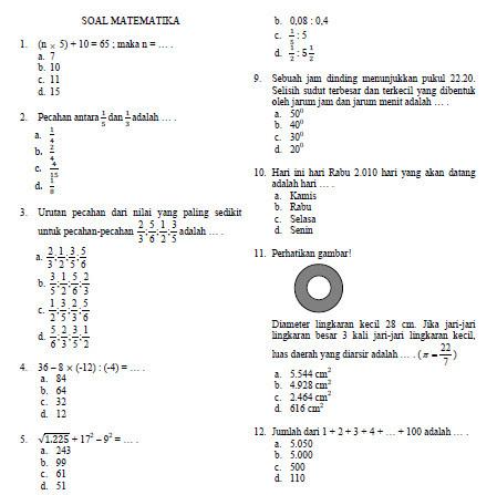 Contoh Soal Olimpiade Matematika SD tahun 2010  Bank Soal Ujian