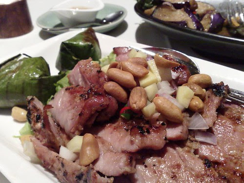 From Front: Essan Grilled Pork Neck and Aubergine Stir-fried with Shrimp Paste, Chilli and Basil