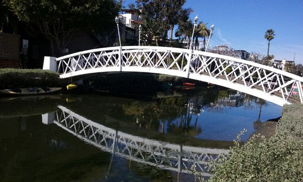 One of many bridges that interconnects the residential areas located in the middle of the Venice Canal Historic District...on January 30, 2017.