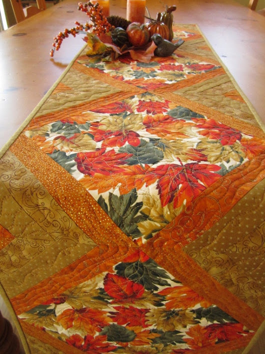 Handmade Quilted Table Runner Fall Table by PatchworkMountain
