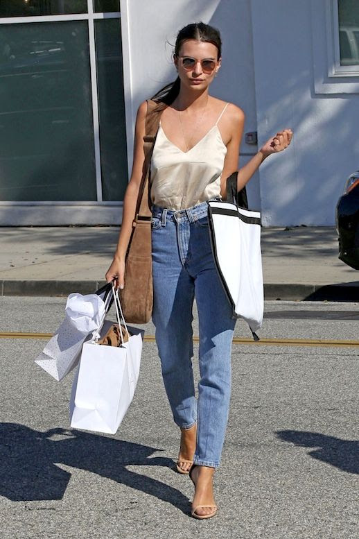 Le Fashion Blog Model Style LA Cool Look Emily Ratajkowski Sunglasses Silk Cream Cami Tucked Into High Waisted Vintage Jeans Brown Suede Bag Body Chain Nude Sandals Via Hawt Celebs