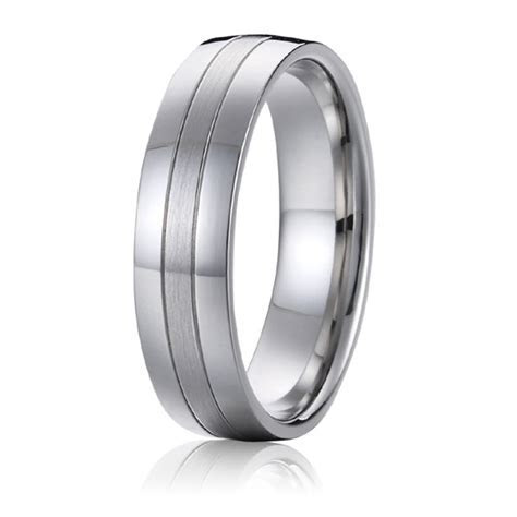 Wedding Band Titanium Men Ring white gold silver color