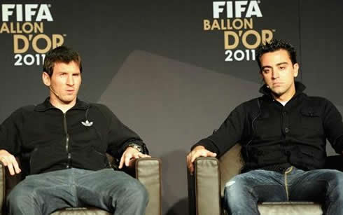 Messi and Xavi in an interview to the FIFA's Balon d'Or 2011 gala