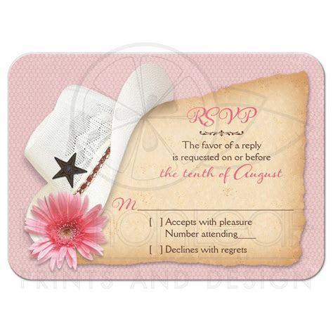 Western Wedding RSVP Card Cowboy Boots Hat Pink Daisy