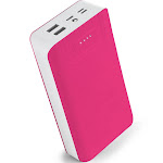 Aduro PowerUp Trio 30,000 mAh SmartCharge Dual USB Backup Battery Pink